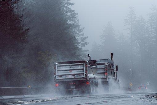Malahat, Truck, Fog, Forest, Mountain, Highway, Rain