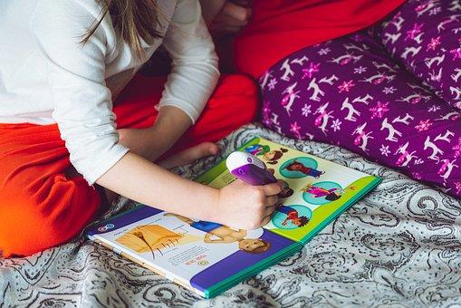 Book, Reading, Child, Girl, Electronic, Pen, Leapfrog