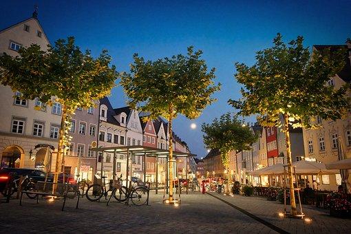 Hauptplatz, Evening, Night, Lighting, Tree, Elm, Lamps