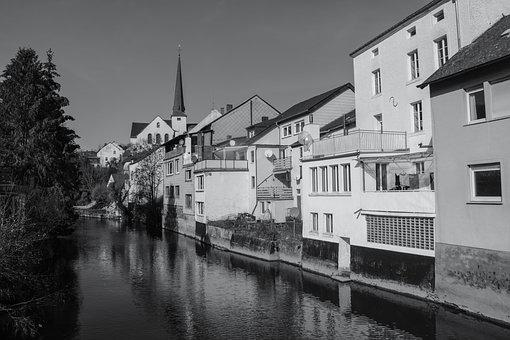 Waxweiler, River, Germany, Church, Landscape