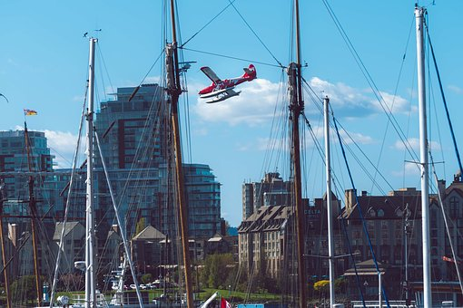 Victoria, Airplane, Seaplane, Landing, Masts, Downtown