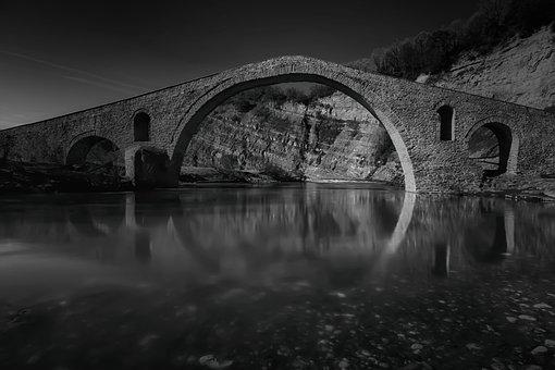 Old, Stone, Greece, Bridge, Landscape, Water, Tourism