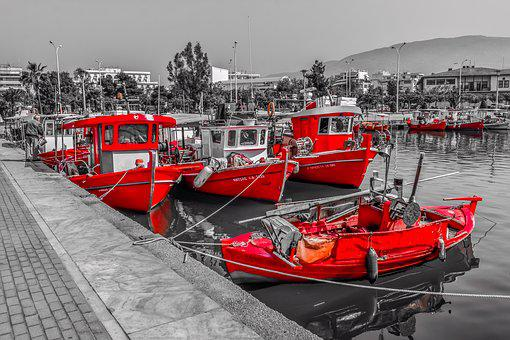 Boats, Red, Colour, Port, Harbour, Sea, Dock, Town