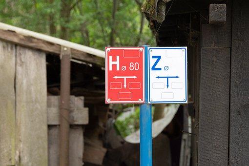 Sign, Tube, Symbols, Red, Sewerage, Symbol, Vertical