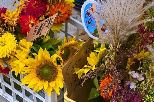 Mixed Flowers In Madison, Farmers Market, Sunflowers