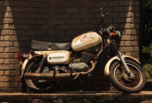 Motor Cycle, Old, Vintage, Wall, Display