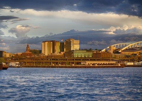 Seattle, Cloudy, Cityscape, Usa, America, Ferry