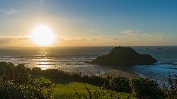 Sunset, Beach, Back Beach, New Zealand, New Plymouth