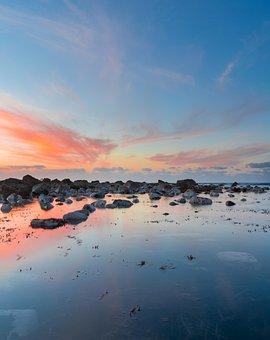 Purple, Blue, Sunset, Ocean, New Plymouth, New Zealand