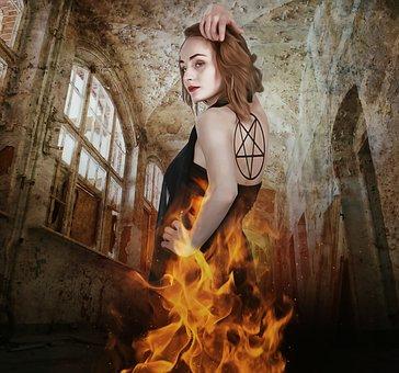 Fantasy, Gothic, Goth, Dark, Evil, Burn, Fire, Female