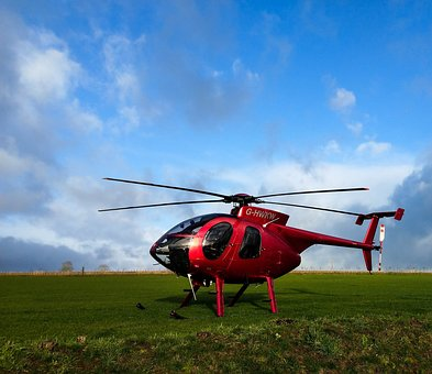 Red Helicopter, Hughes Md 500, Helicopter On Grass, Sky