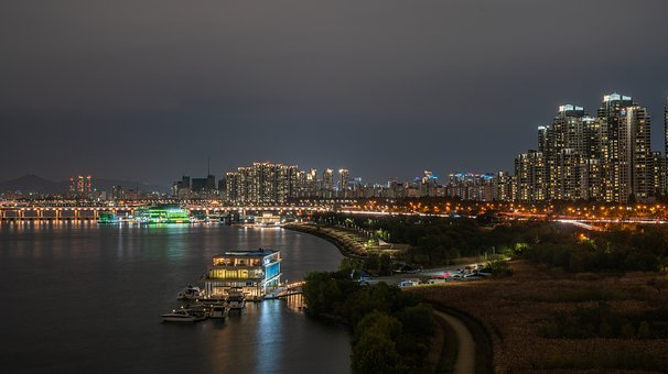 River, Seoul, Korea, Han River, Sky, City, Cloud