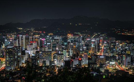 Cityscape, Seoul, Korea, Namsan, City, Sky, Night