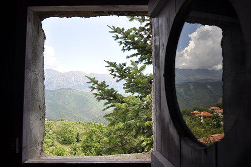 Window, Landscape, Mountains, Forest, Trees, Firs