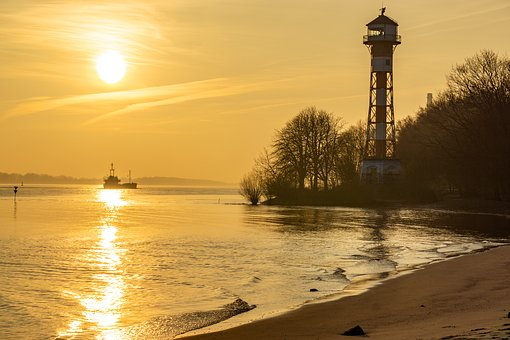 Hamburg, Elbe, Lighthouse, Water, Elbe Beach, Sunset