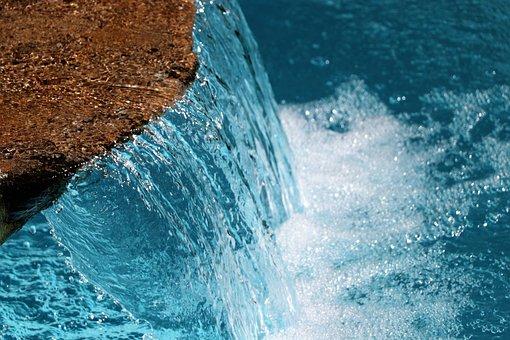 Water, Background, Waterfall, Blue, Nature, Liquid