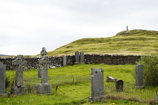 Cemetery, Scotland, Old, Weathered, Grave Stones