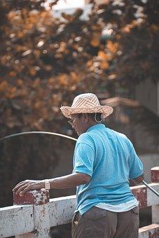 Fishing, Hats, Conical Leaf Hat, Man, Older