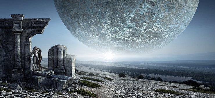 Fantasy, Moon, Ruin, Pair, Love, Landscape, Wide