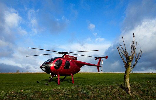 Red Helicopter, Hughes Md 500, Helicopter On Grass