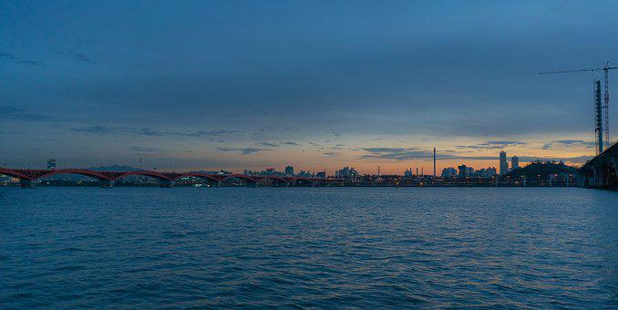 River, Han River, Seoul, Korea, Sky, City, Cloud