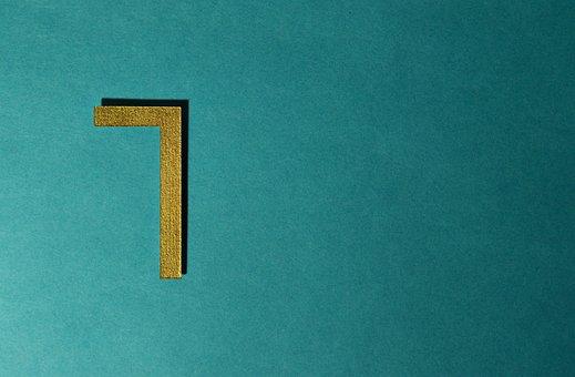 Seven, Type, Number, Background, Gold, Card, Brightness