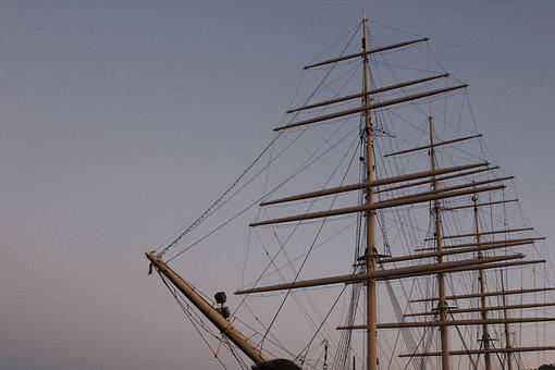 Ship, Shipyard, Sunset, Ships, Mast, Sky, Port