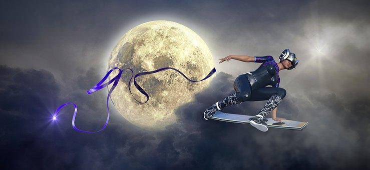 Fantasy, Moon, Skateboard, Woman, Band, Clouds, Light