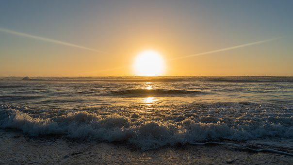 Sunset, Yellow, Taranaki, New Zealand, Nature, Sky