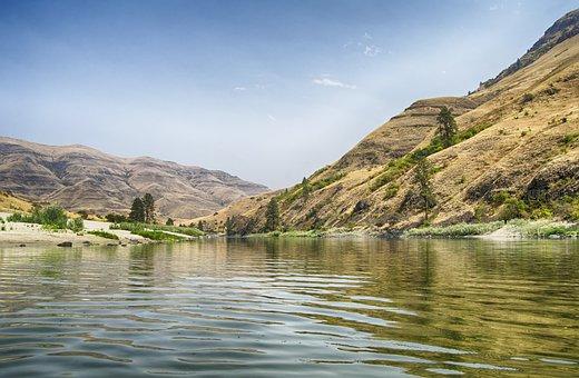 Calm Water, Salmon River, Idaho, Dry, Usa, America