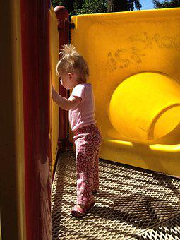 Toddler, Curious, Playground, Pig Tails, Cute, Young