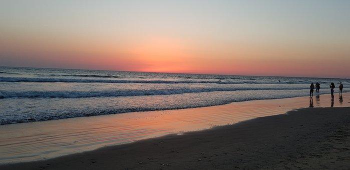 Sunset, Island, France, Beach, Atlantic