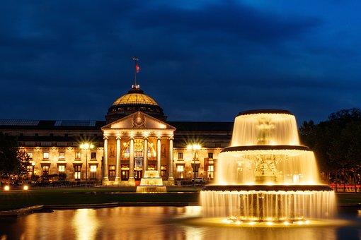 Kurhaus, Blue Hour, Soft Water, Illumination, Fountain