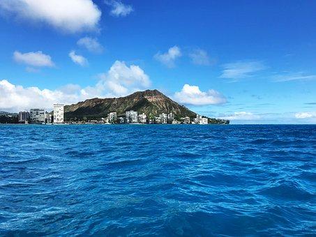 Diamond Head, Waikiki, Mamala Bay, Hotels, Ocean, Blue