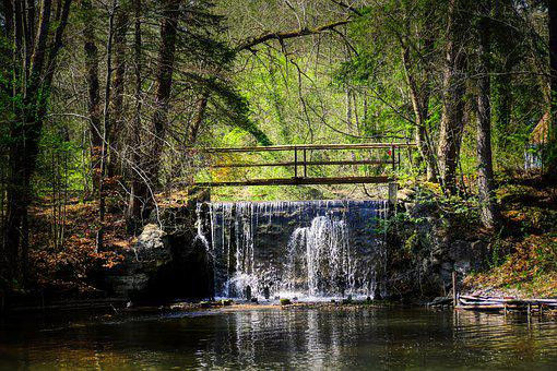 Bridge, Waterfall, Barrage, Drain, Lake, Reservoir