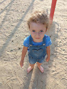 Girl, Baby, Summer, Sand, Heat, Dress, Greens, Sun