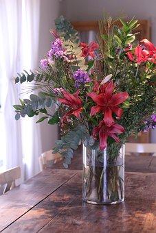 Flowers, Bouquet, Vase, Table, Window, Light
