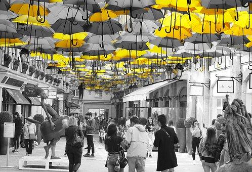 Village Royal, Paris, France, Yellow, Umbrellas, Famous