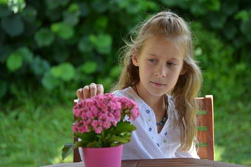 Flower, Girl, Garden, Portrait, Spring, Face, Child