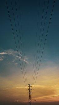 Landscape, Sunset, Powerpoles