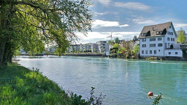 Landscape, Switzerland, Bremgarten, Aargau, Bank