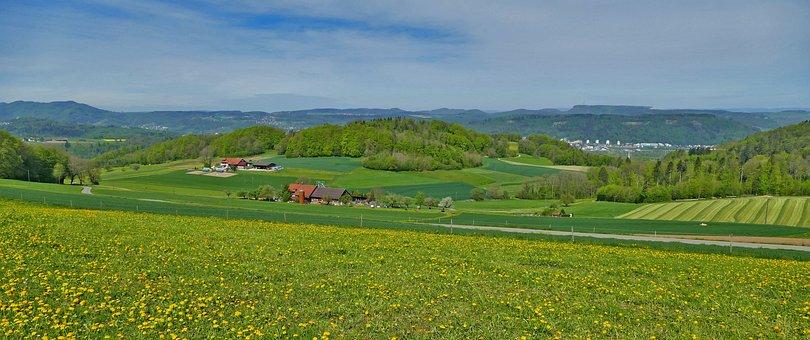 Landscape, Switzerland, Aargau, Hinterland, Panorama