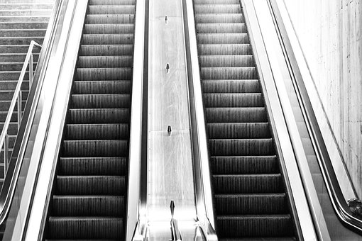 Escalator, Top, Down, Stairs, Urban, Railway Station