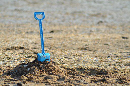 Shovel, Sand, Sea, Beach, Summer, Holiday, Toys, Bucket