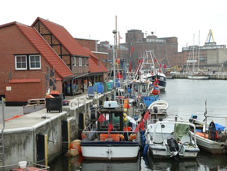 Peenemünde, Port, Ships, Boat, Water, Architecture