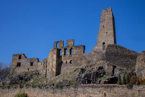 Okor, Hrad, Zrícenina, Cesko, Castle, Ruin, Building
