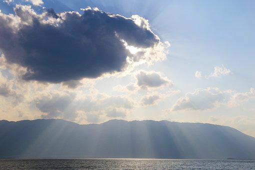 Dali, Erhai Lake, Sunset, Holy Light, Cloud