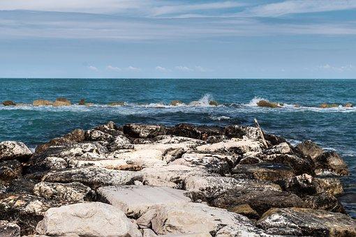 Sea, Sky, Beach, Stones, Water, Clouds, Nature, Costa