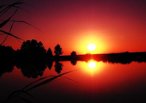 Sunset, Lake, Rest, Abendstimmung, Nature, Reflection