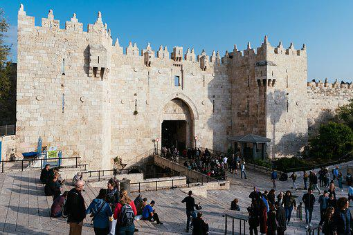 Damascus Gate, Israel, Ancient, Gate, Old, City, People